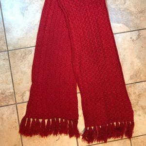 Women's Loft Knit Red Scarf w/Fringes